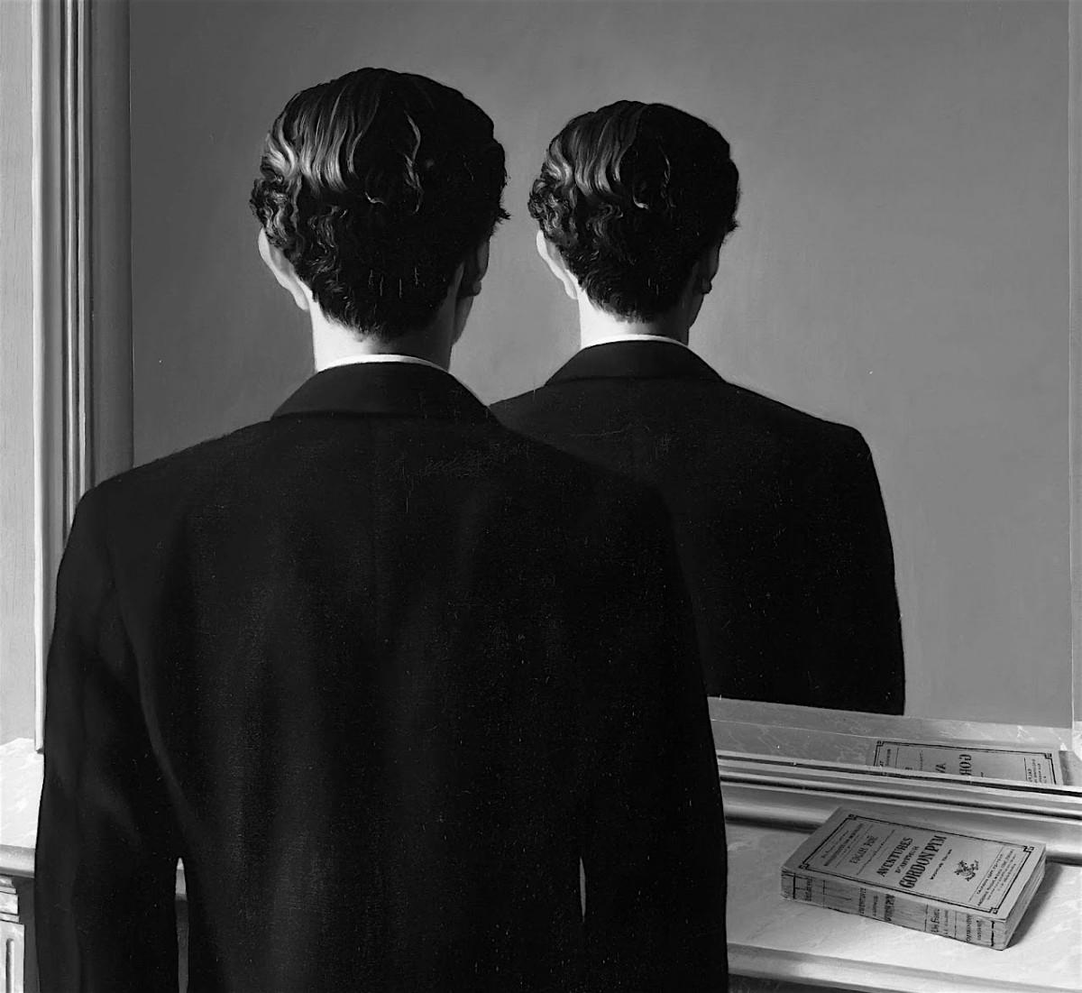 Personaje frente al espejo letras en la frontera for Al jardin de la republica letra